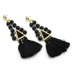 Jewelry - Gold and Black Beaded Triangle Fringe Earrings